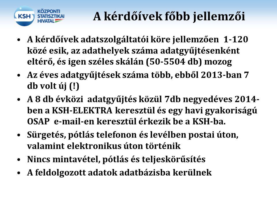 KSH Szervezési feladatok, határidők Az adatgyűjtések adatszolgáltatói körének kijelölése egyeztetés, jóváhagyás az NFM részéről: 2013.