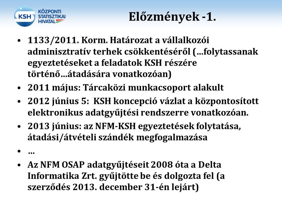 Előzmények -1. 1133/2011. Korm. Határozat a vállalkozói adminisztratív terhek csökkentéséről (…folytassanak egyeztetéseket a feladatok KSH részére tör