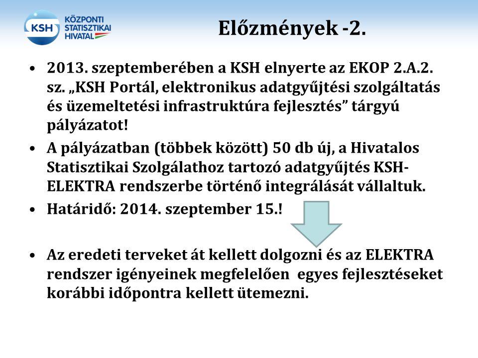 """Előzmények -2. 2013. szeptemberében a KSH elnyerte az EKOP 2.A.2. sz. """"KSH Portál, elektronikus adatgyűjtési szolgáltatás és üzemeltetési infrastruktú"""