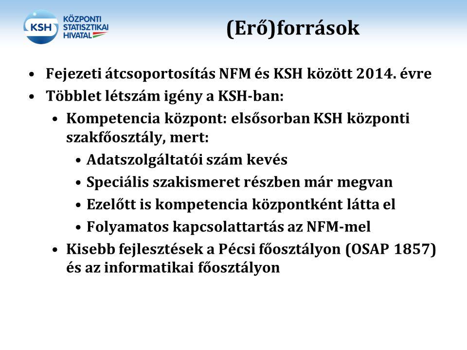(Erő)források Fejezeti átcsoportosítás NFM és KSH között 2014. évre Többlet létszám igény a KSH-ban: Kompetencia központ: elsősorban KSH központi szak