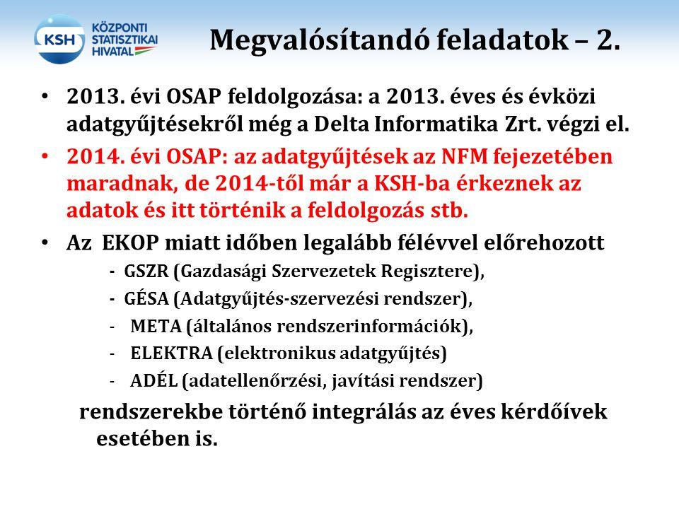 Megvalósítandó feladatok – 2. 2013. évi OSAP feldolgozása: a 2013. éves és évközi adatgyűjtésekről még a Delta Informatika Zrt. végzi el. 2014. évi OS