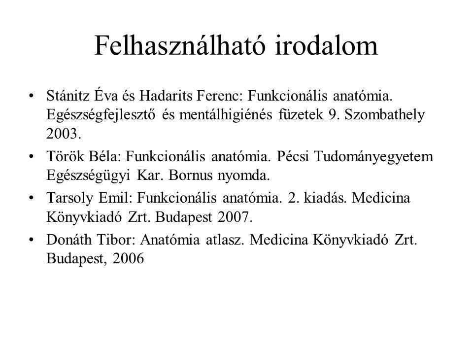 Felhasználható irodalom Stánitz Éva és Hadarits Ferenc: Funkcionális anatómia.