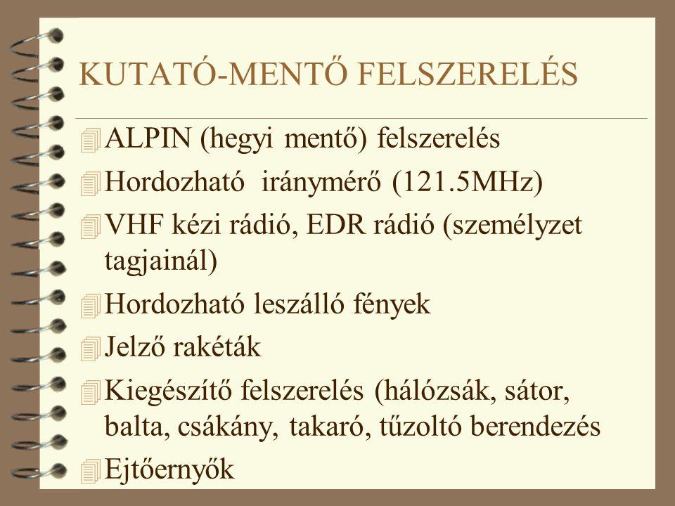 KUTATÓ-MENTŐ FELSZERELÉS 4 ALPIN (hegyi mentő) felszerelés 4 Hordozható iránymérő (121.5MHz) 4 VHF kézi rádió, EDR rádió (személyzet tagjainál) 4 Hord