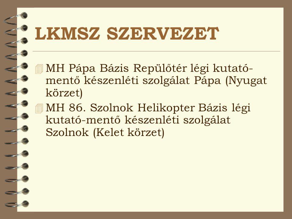 LKMSZ SZERVEZET 4 MH Pápa Bázis Repülőtér légi kutató- mentő készenléti szolgálat Pápa (Nyugat körzet)  MH 86. Szolnok Helikopter Bázis légi kutató-m