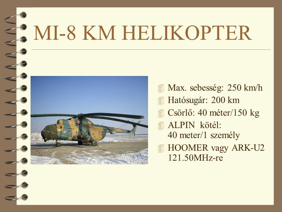 MI-8 KM HELIKOPTER 4 Max. sebesség: 250 km/h 4 Hatósugár: 200 km 4 Csörlő: 40 méter/150 kg 4 ALPIN kötél: 40 meter/1 személy 4 HOOMER vagy ARK-U2 121.