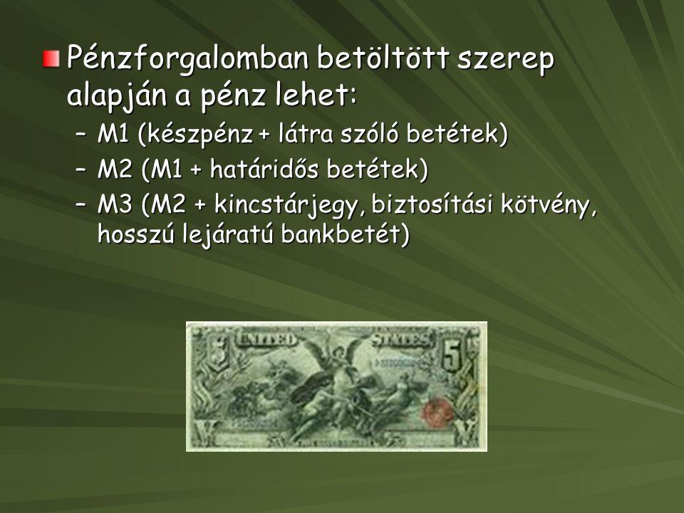 Pénzforgalomban betöltött szerep alapján a pénz lehet: –M1 (készpénz + látra szóló betétek) –M2 (M1 + határidős betétek) –M3 (M2 + kincstárjegy, biztosítási kötvény, hosszú lejáratú bankbetét)