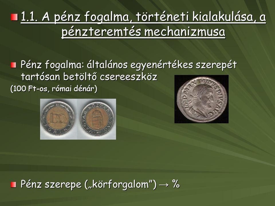 1.1. A pénz fogalma, történeti kialakulása, a pénzteremtés mechanizmusa Pénz fogalma: általános egyenértékes szerepét tartósan betöltő csereeszköz (10