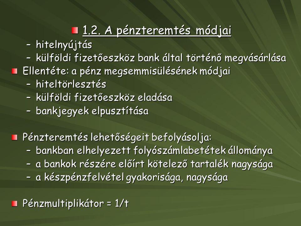 1.2. A pénzteremtés módjai –hitelnyújtás –külföldi fizetőeszköz bank által történő megvásárlása –külföldi fizetőeszköz bank által történő megvásárlása