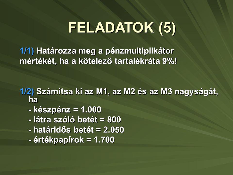 FELADATOK (5) 1/1) Határozza meg a pénzmultiplikátor mértékét, ha a kötelező tartalékráta 9%.