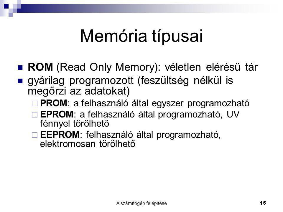 A számítógép felépítése 15 Memória típusai ROM (Read Only Memory): véletlen elérésű tár gyárilag programozott (feszültség nélkül is megőrzi az adatoka