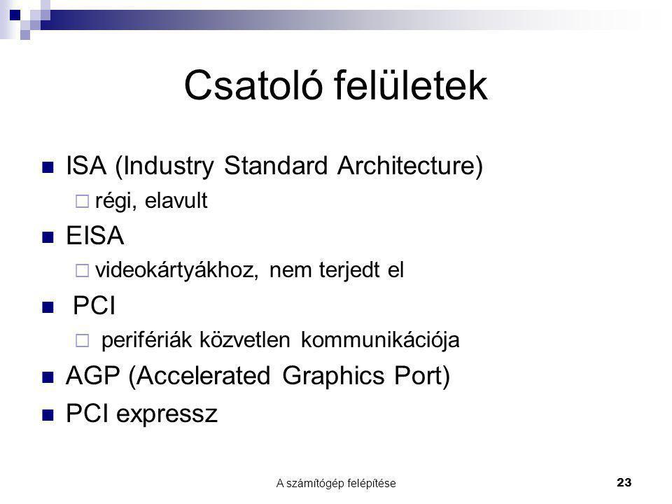 A számítógép felépítése 23 Csatoló felületek ISA (Industry Standard Architecture)  régi, elavult EISA  videokártyákhoz, nem terjedt el PCI  perifér