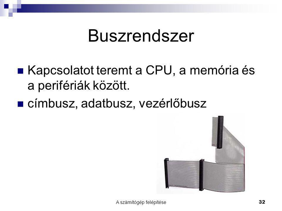 A számítógép felépítése 32 Buszrendszer Kapcsolatot teremt a CPU, a memória és a perifériák között. címbusz, adatbusz, vezérlőbusz