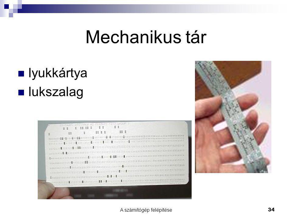 A számítógép felépítése 34 Mechanikus tár lyukkártya lukszalag