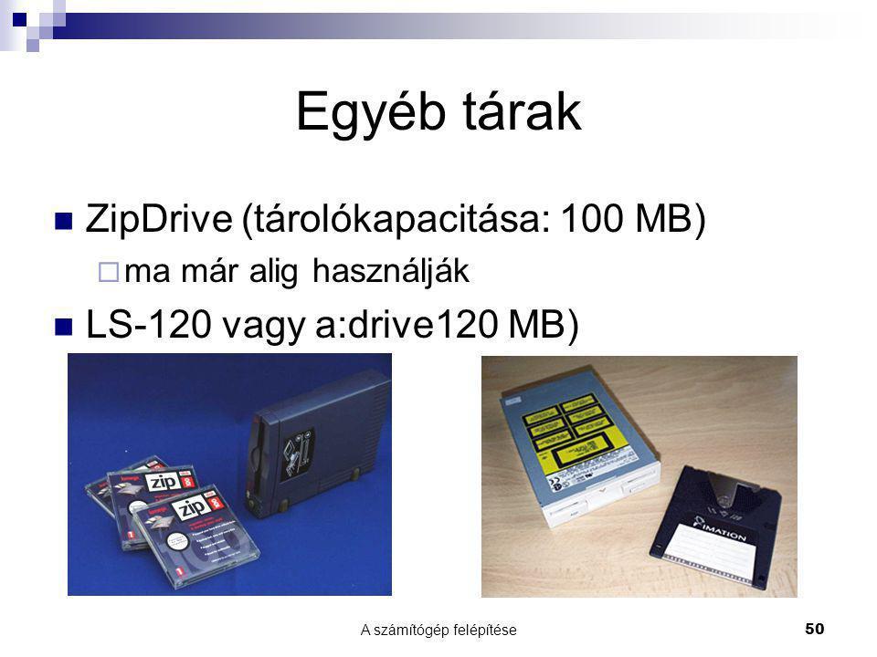 A számítógép felépítése 50 Egyéb tárak ZipDrive (tárolókapacitása: 100 MB)  ma már alig használják LS-120 vagy a:drive120 MB)