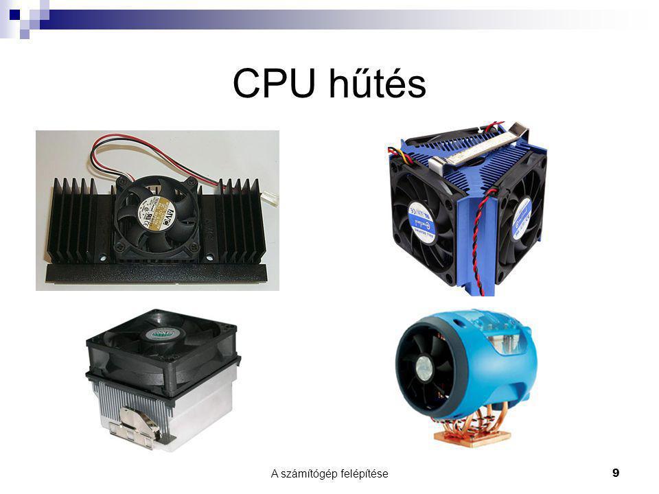 A számítógép felépítése 10 Processzortípusok PC, PC/XT  1972, 8008-as, 8080-as  1978, 8086-os, 8088-as, 10 MHz  1983, 80168-as, 80188-as, 16 MHz PC/AT (286)  1984, 80286-os, 20 Mhz PC/AT (386)  1985, 80386-os, 4 Gbyte memória kezelése, 33 Mhz