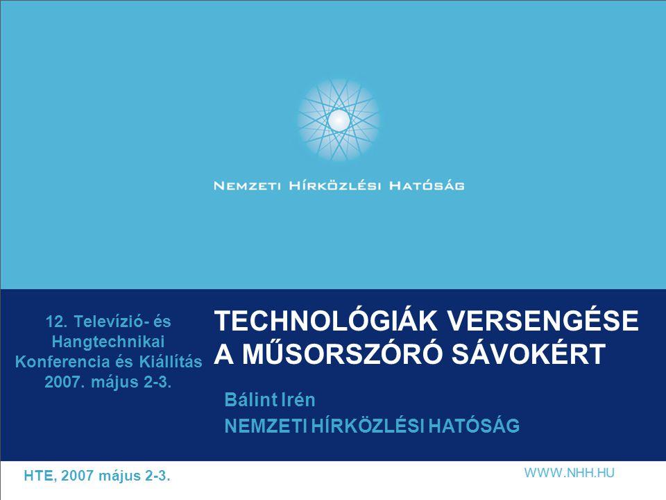 TECHNOLÓGIÁK VERSENGÉSE A MŰSORSZÓRÓ SÁVOKÉRT 12.
