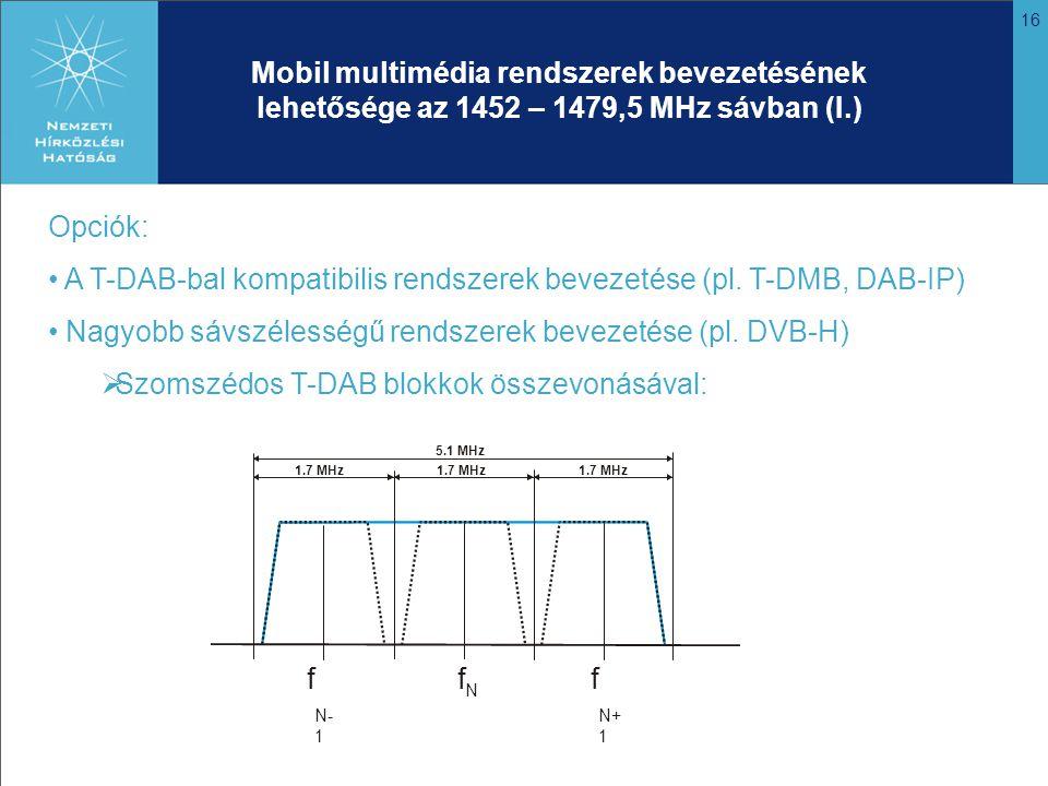 16 Mobil multimédia rendszerek bevezetésének lehetősége az 1452 – 1479,5 MHz sávban (I.) Opciók: A T-DAB-bal kompatibilis rendszerek bevezetése (pl.