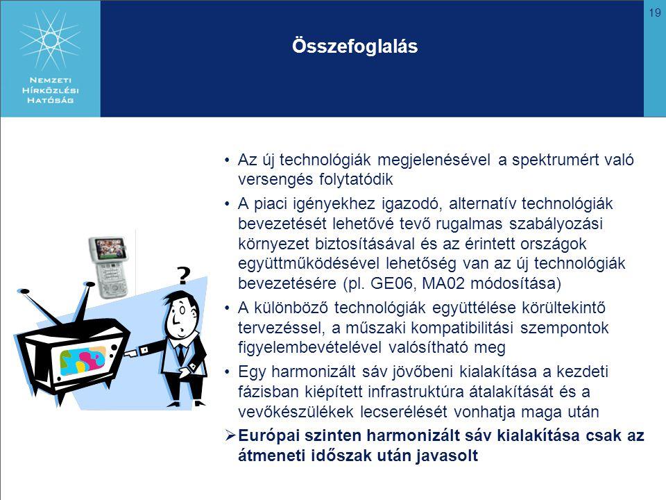 19 Összefoglalás Az új technológiák megjelenésével a spektrumért való versengés folytatódik A piaci igényekhez igazodó, alternatív technológiák bevezetését lehetővé tevő rugalmas szabályozási környezet biztosításával és az érintett országok együttműködésével lehetőség van az új technológiák bevezetésére (pl.