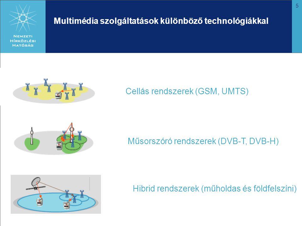 5 Multimédia szolgáltatások különböző technológiákkal Cellás rendszerek (GSM, UMTS) Műsorszóró rendszerek (DVB-T, DVB-H) Hibrid rendszerek (műholdas és földfelszíni)
