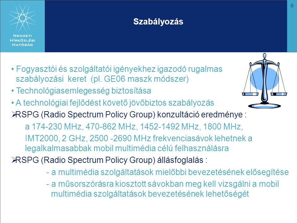 17 Mobil multimédia rendszerek bevezetésének lehetősége az 1452 – 1479,5 MHz sávban (II.) Opciók: MA02 terv rugalmas felhasználása a Ma02 Megállapodás szükséges mértékű módosításával A sáv újratervezése és a MA02 teljes körű felülvizsgálata  Lehetséges újrafelosztás: