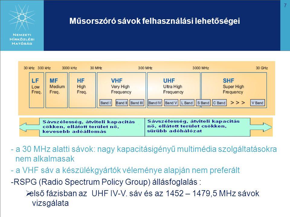 7 Műsorszóró sávok felhasználási lehetőségei - a 30 MHz alatti sávok: nagy kapacitásigényű multimédia szolgáltatásokra nem alkalmasak - a VHF sáv a készülékgyártók véleménye alapján nem preferált -RSPG (Radio Spectrum Policy Group) állásfoglalás :  első fázisban az UHF IV-V.