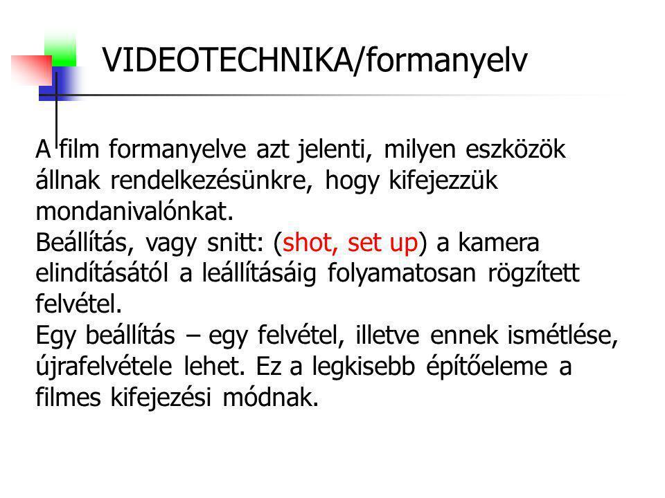 """VIDEOTECHNIKA/formanyelv Nagyobb egység a """"kép .(scene) Színházi felfogásban kell érteni."""