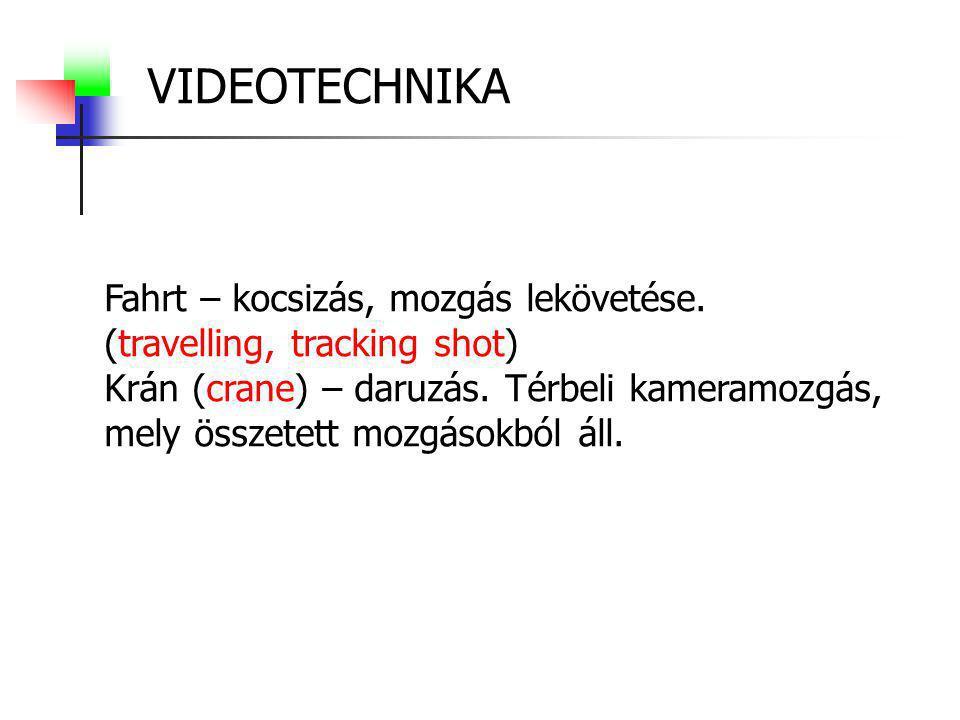 VIDEOTECHNIKA Fahrt – kocsizás, mozgás lekövetése. (travelling, tracking shot) Krán (crane) – daruzás. Térbeli kameramozgás, mely összetett mozgásokbó
