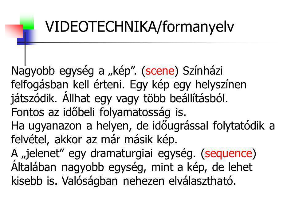 VIDEOTECHNIKA/formanyelv Képsor, vagy montázs: (montage) Beállítások egymás után fűzése.