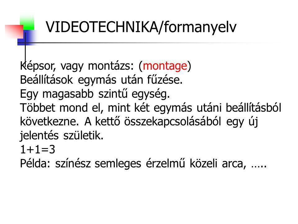 VIDEOTECHNIKA/formanyelv Képsor, vagy montázs: (montage) Beállítások egymás után fűzése. Egy magasabb szintű egység. Többet mond el, mint két egymás u