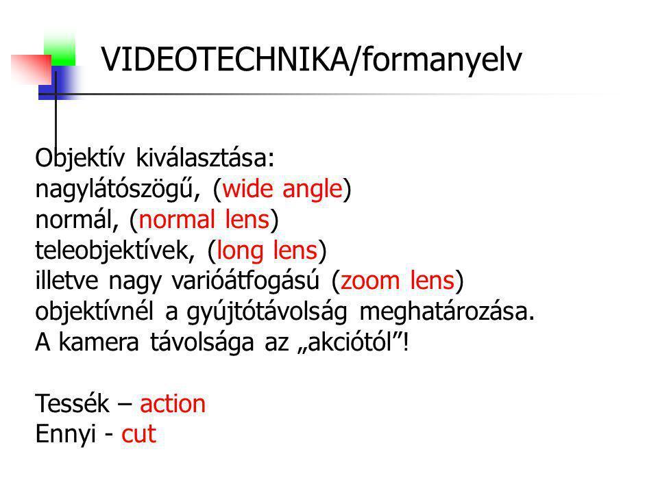 VIDEOTECHNIKA/formanyelv Objektív kiválasztása: nagylátószögű, (wide angle) normál, (normal lens) teleobjektívek, (long lens) illetve nagy varióátfogá
