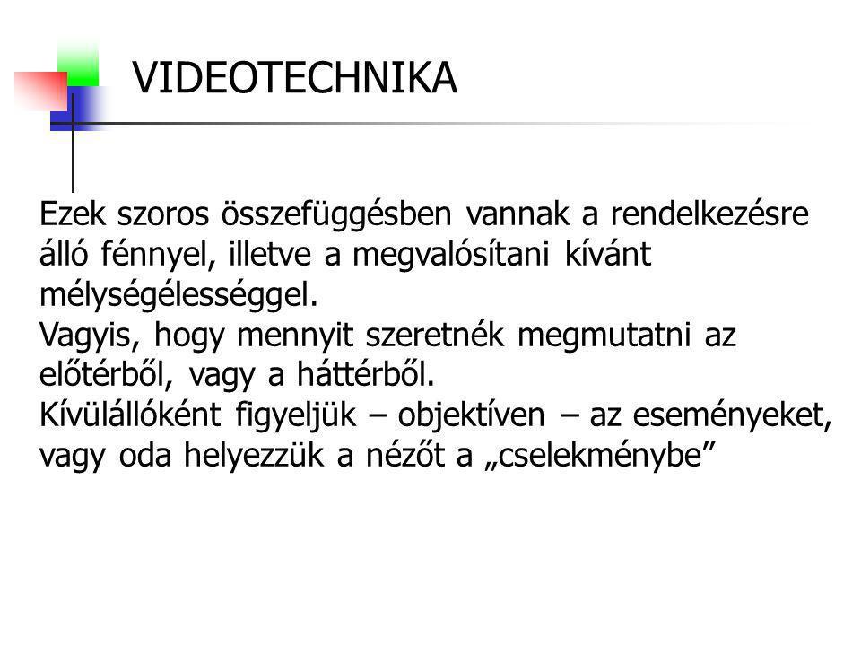 VIDEOTECHNIKA/formanyelv Gépállások: Kiválasztás szempontjai.