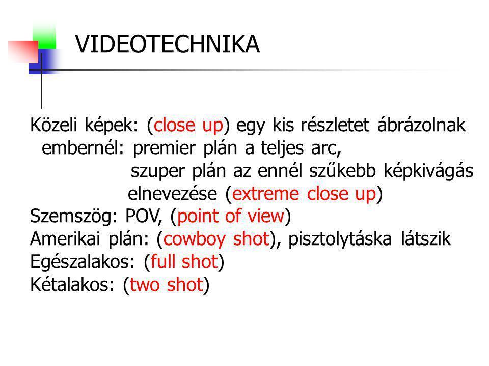 VIDEOTECHNIKA/formanyelv Kameramozgások: (camera movements) Fix képnél nincs kameramozgás.