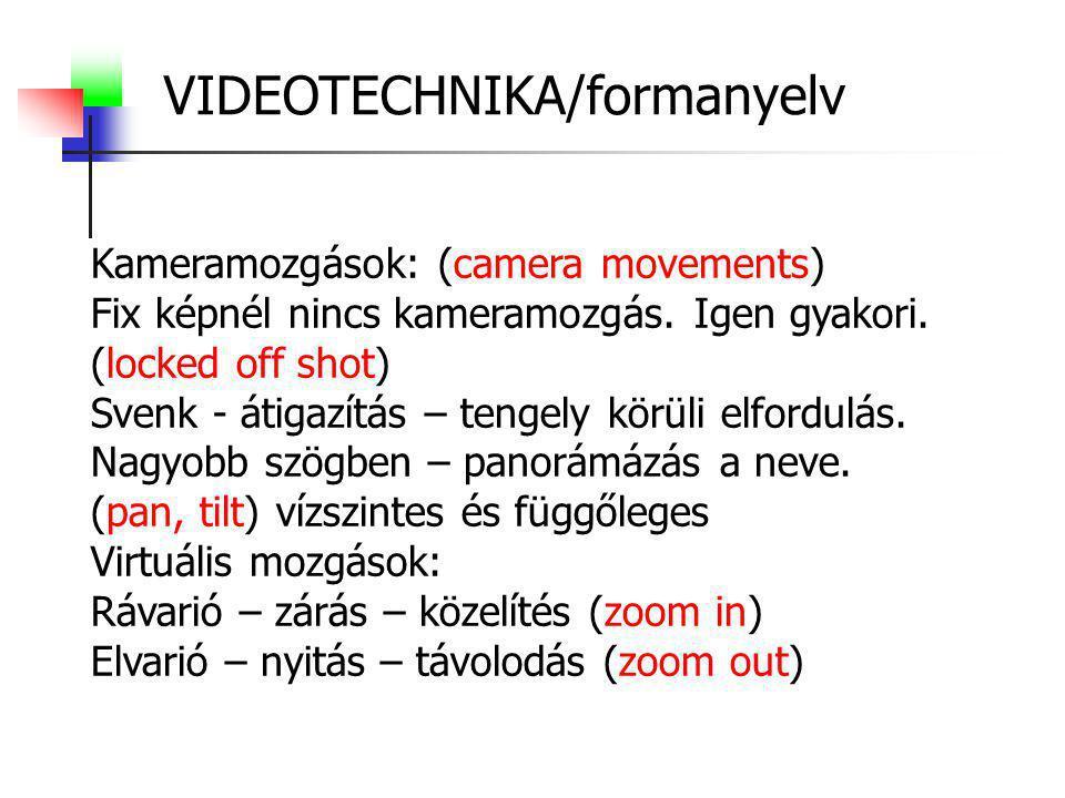 VIDEOTECHNIKA/formanyelv Kameramozgások: (camera movements) Fix képnél nincs kameramozgás. Igen gyakori. (locked off shot) Svenk - átigazítás – tengel