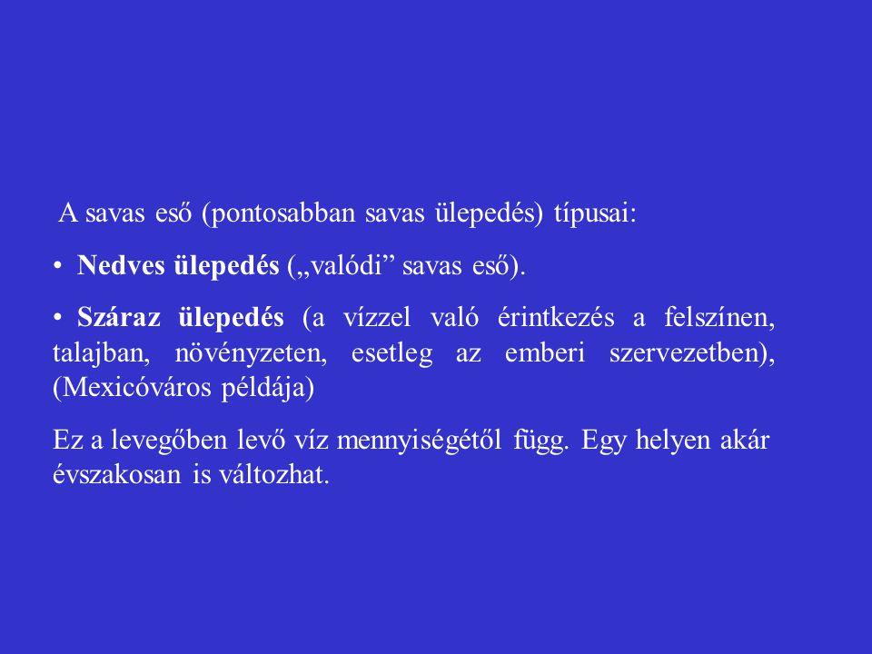 """A savas eső (pontosabban savas ülepedés) típusai: Nedves ülepedés (""""valódi"""" savas eső). Száraz ülepedés (a vízzel való érintkezés a felszínen, talajba"""