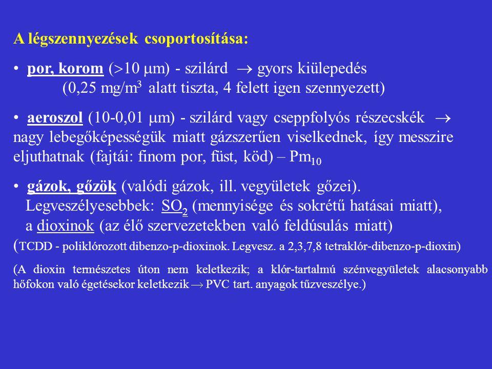 A légszennyezések csoportosítása: por, korom (  10  m) - szilárd  gyors kiülepedés (0,25 mg/m 3 alatt tiszta, 4 felett igen szennyezett) aeroszol (
