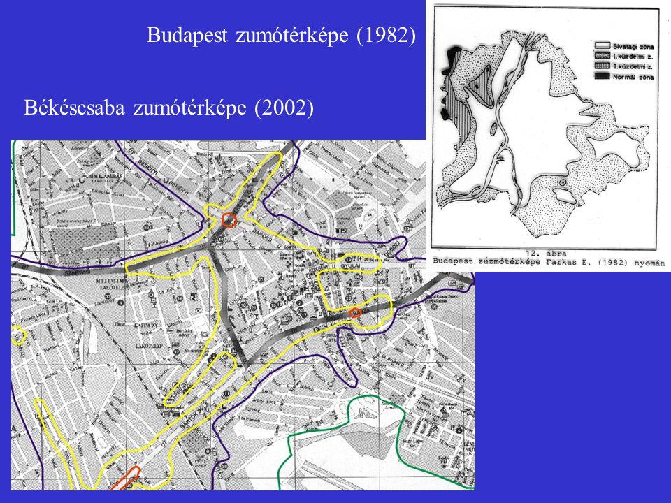 Békéscsaba zumótérképe (2002) Budapest zumótérképe (1982)