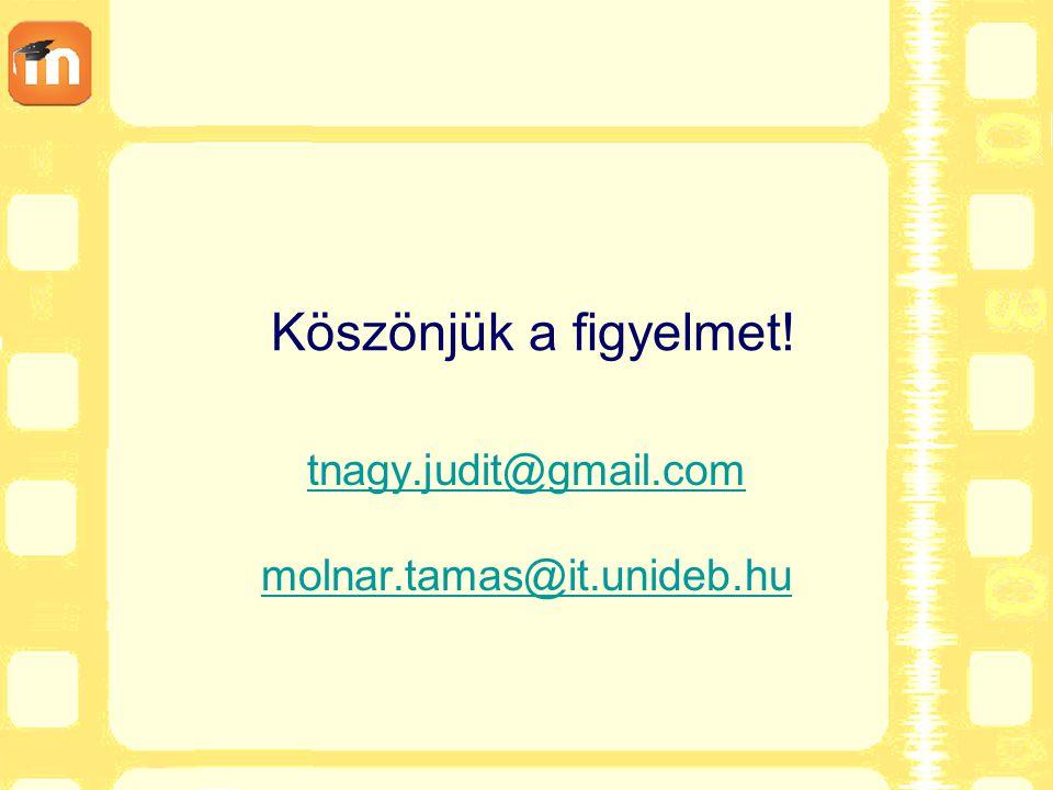 Köszönjük a figyelmet! tnagy.judit@gmail.com molnar.tamas@it.unideb.hu