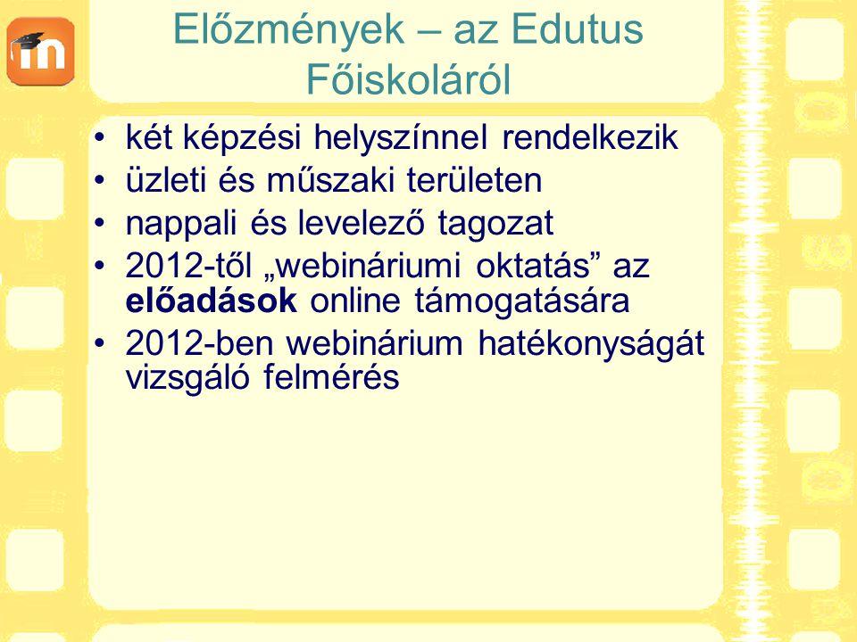"""Előzmények – az Edutus Főiskoláról két képzési helyszínnel rendelkezik üzleti és műszaki területen nappali és levelező tagozat 2012-től """"webináriumi"""