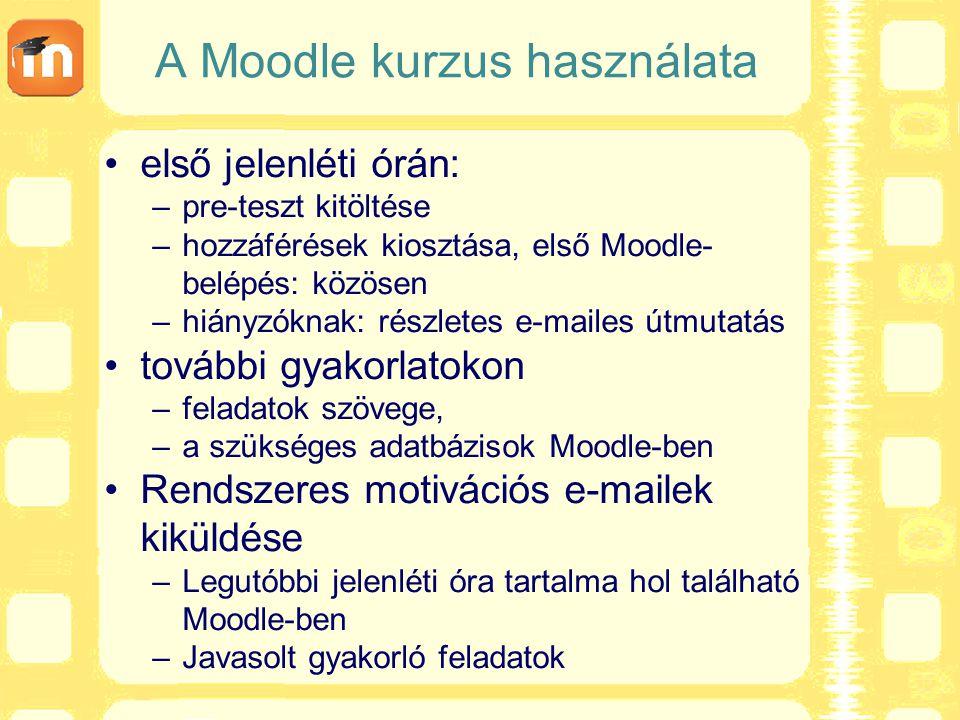 A Moodle kurzus használata első jelenléti órán: –pre-teszt kitöltése –hozzáférések kiosztása, első Moodle- belépés: közösen –hiányzóknak: részletes e-