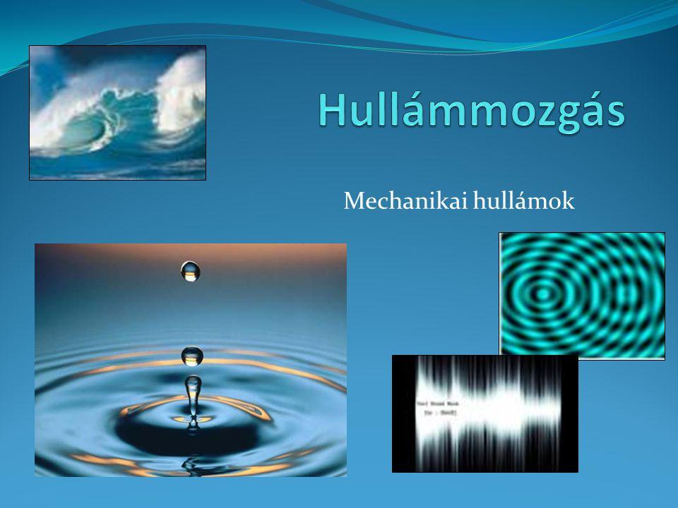 Felületi hullámok Különböző felületeken terjedő hullámok Azonos fázisban rezgő részek körök mentén helyezkednek el: körhullámok Minden azonos fázisban rezgő rész, egyenesek mentén helyezkedik el: egyenes hullám Hullámtér: a tér azon része ahol a közeg részecskéi már rezegnek Hullámfront: hullámtér határa Hullámforrás, hullámhegy, hullámvölgy Sugár: hullámfrontra merőleges egyenes