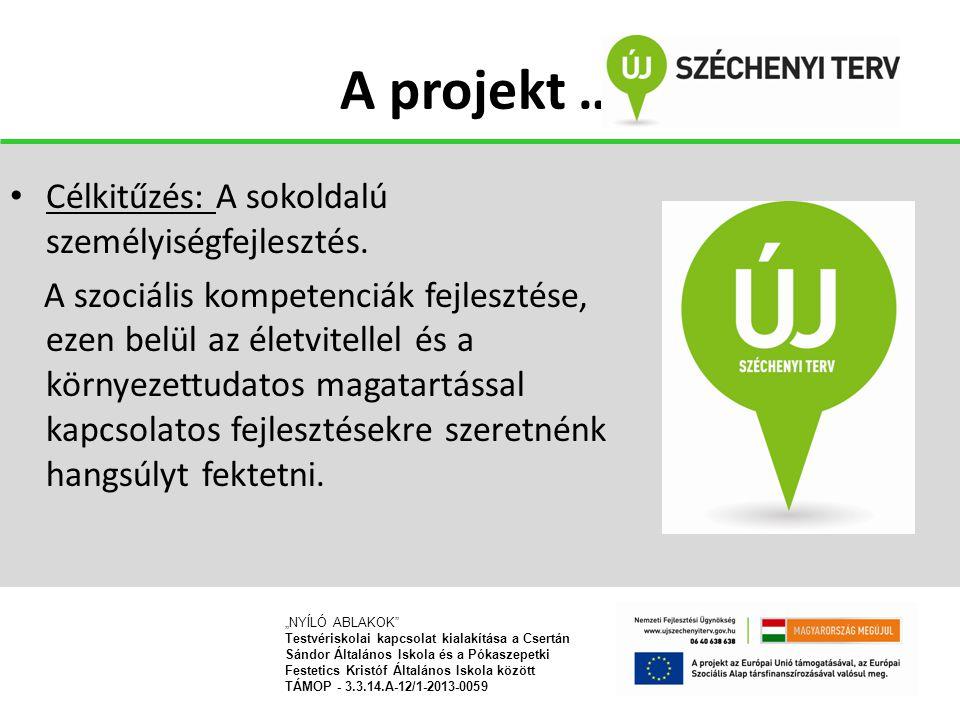 A projekt … Célkitűzés: A sokoldalú személyiségfejlesztés. A szociális kompetenciák fejlesztése, ezen belül az életvitellel és a környezettudatos maga