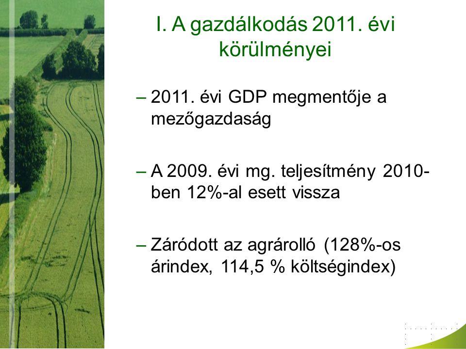I. A gazdálkodás 2011. évi körülményei –2011. évi GDP megmentője a mezőgazdaság –A 2009. évi mg. teljesítmény 2010- ben 12%-al esett vissza –Záródott