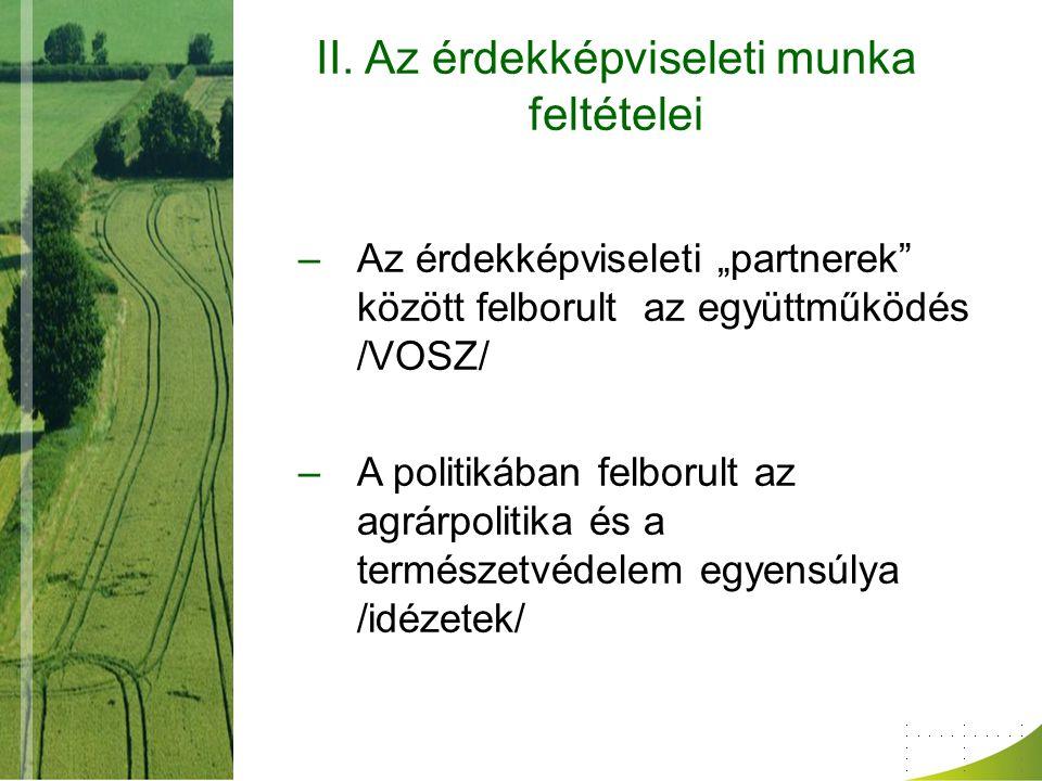 """II. Az érdekképviseleti munka feltételei –Az érdekképviseleti """"partnerek"""" között felborult az együttműködés /VOSZ/ –A politikában felborult az agrárpo"""