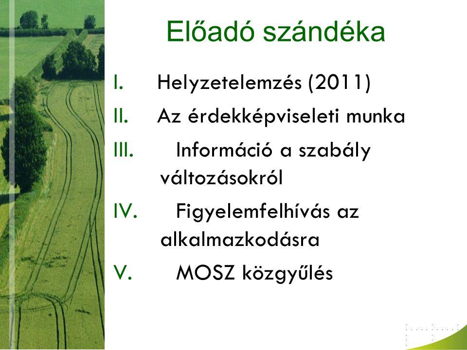 E.Szakmai területeken különös figyelmet kívánó ügyek 1.Élelmiszerlánc felügyeleti díj – MOSZ-nak kell számon kérni a kormány ígéretét 2.Elvárt béremelés – érdekképviselet a rendszer változtatásáért – termelők a végrehajtást (sürgős-havi) – a minimálbér kötelező 3.Készülő új gabona szabvány 4.Repülőgépes munkák engedélyezése