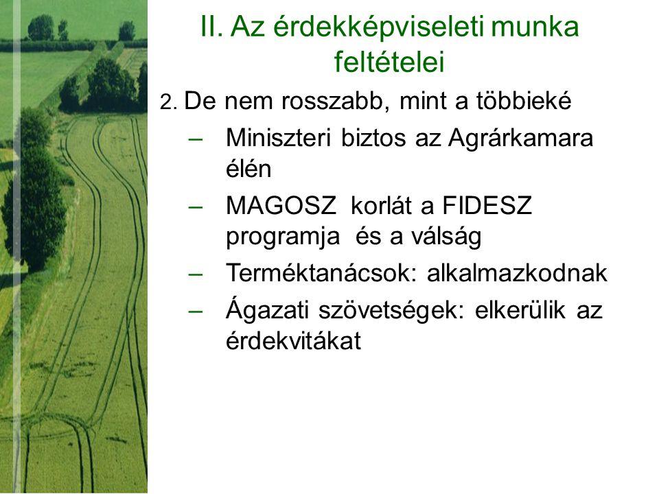 II. Az érdekképviseleti munka feltételei 2. De nem rosszabb, mint a többieké –Miniszteri biztos az Agrárkamara élén –MAGOSZ korlát a FIDESZ programja