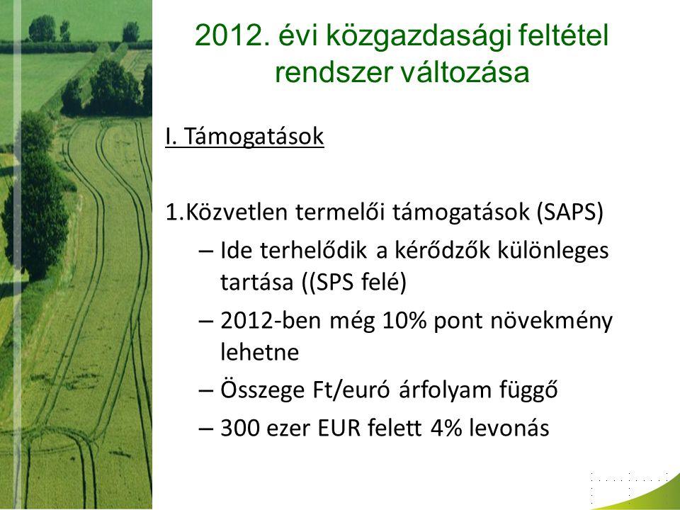 2012. évi közgazdasági feltétel rendszer változása I. Támogatások 1.Közvetlen termelői támogatások (SAPS) – Ide terhelődik a kérődzők különleges tartá