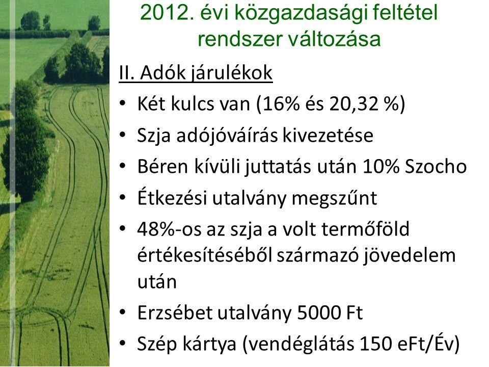 2012. évi közgazdasági feltétel rendszer változása II. Adók járulékok Két kulcs van (16% és 20,32 %) Szja adójóváírás kivezetése Béren kívüli juttatás