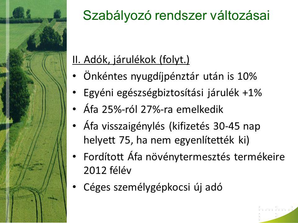 Szabályozó rendszer változásai II. Adók, járulékok (folyt.) Önkéntes nyugdíjpénztár után is 10% Egyéni egészségbiztosítási járulék +1% Áfa 25%-ról 27%