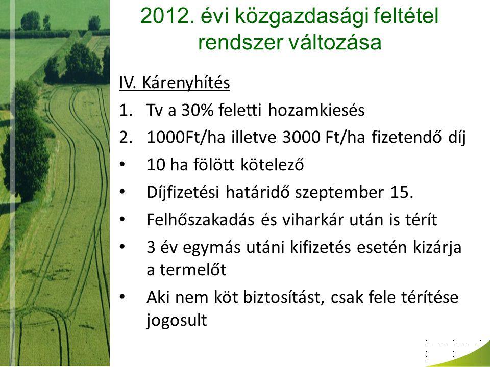 2012. évi közgazdasági feltétel rendszer változása IV. Kárenyhítés 1.Tv a 30% feletti hozamkiesés 2.1000Ft/ha illetve 3000 Ft/ha fizetendő díj 10 ha f