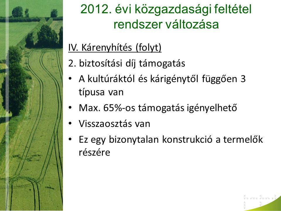 2012. évi közgazdasági feltétel rendszer változása IV. Kárenyhítés (folyt) 2. biztosítási díj támogatás A kultúráktól és kárigénytől függően 3 típusa